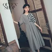 Queen Shop【01084825】V領大小格紋同色拼接洋裝 兩色售*現+預*