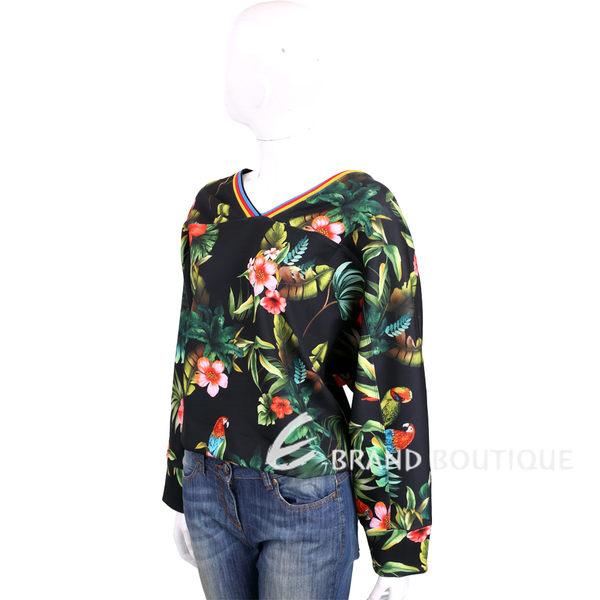 PINKO 黑色叢林圖騰長袖上衣 1720353-01