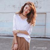 女生長T   韓版純白色t恤女長袖竹節棉寬鬆百搭學生簡約休閒體恤打底衫   ciyo黛雅