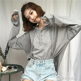 韓版純色慵懶風寬鬆百搭抽繩連帽套頭T恤連帽T恤上衣外套學生女 快速出貨