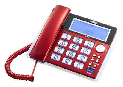 台灣哈理 三洋 SANYO 來電顯示有線電話 TEL-981 紅/ 銀 2色