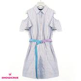 【SHOWCASE】率性細條紋挖肩襯衫式連身洋裝(藍)
