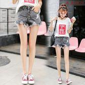 破洞牛仔短褲女韓版高腰寬鬆A字褲