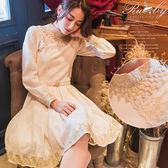 洋裝 露比設計宮廷風立領蕾絲長袖洋裝-Ruby s 露比午茶