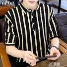男士夏季條紋短袖T恤韓版潮流修身打底衫個性翻領Polo衫中袖體恤 3C優購