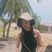 韓版雙面純色漁夫帽女夏季冷淡風大檐盆帽百搭日系遮陽防曬太陽帽 探索先鋒