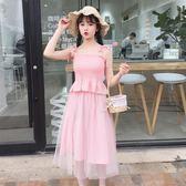 2018夏季女裝新款韓版小清新露肩吊帶 網紗裙連衣裙兩件套裙子潮