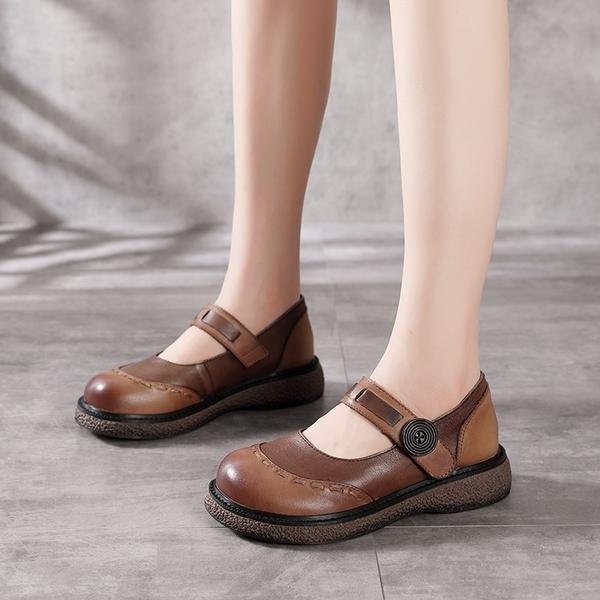 真皮手工女鞋 拼色魔術貼休閒鞋 縫線淺口平底鞋/2色-夢想家-標準碼-0412