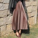 金絲絨半身裙 金絲絨百褶裙半身裙秋冬季女韓版絲絨裙子長裙高腰中長款 唯伊時尚