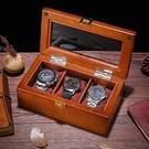 手錶收藏盒 三格手表盒木質玻璃天窗表盒子裝手串鏈展示箱收藏收納首飾盒【快速出貨八折鉅惠】