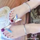 涼鞋 內增高網紅蝴蝶水鉆扣平底夾趾涼鞋女夏季沙灘新款涼拖鞋平跟外穿 星河光年