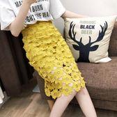 2018新款春夏韓版鏤空鉤花蕾絲高腰半身裙一步裙中長款包臀裙女潮