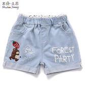 女童牛仔短褲淺色薄款韓版兒童中大童純棉卡通淡藍色熱褲   伊鞋本鋪