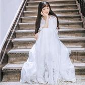 超仙的仙女裙長款大擺裙蕾絲裙子白色洋裝夏禮服女仙氣學生森系ATF「錢夫人小鋪」