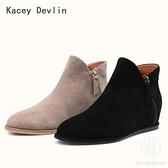 柔軟舒適羊猄內增高短靴女真皮平底踝靴圓頭簡約百搭【Kacey Devlin 】
