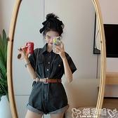 背帶褲 網紅牛仔連體褲女夏季ins薄款連衣褲高腰寬鬆闊腿短褲潮 嬡孕哺 新品