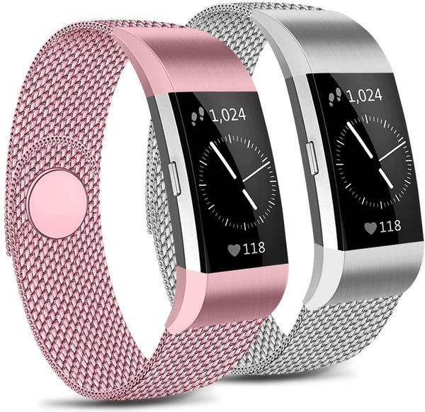 [2美國直購] 錶帶 [Pack 2] Metal Loop Bands Compatible Fitbit Charge 2 Band B089DY41VN