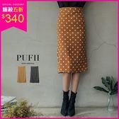 (現貨)PUFII-中長裙 復古點點後開衩窄裙中長裙 2色-0927 現+預 秋【ZP15242】