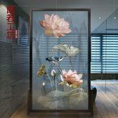 (超夯免運)屏風隔斷客廳現代玄關實木時尚辦公古典鏤空簡約透明座屏移動荷花 xw