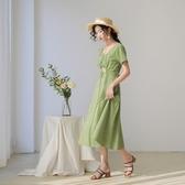 短袖洋裝-格紋V領綁帶棉質連身裙4款73xk7【時尚巴黎】