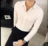 長袖襯衫-秋冬韓版修身男士潮流百搭長袖襯衫英倫男生時尚休閒純色襯衣 現貨快出