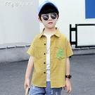 男童襯衫男童襯衫夏季薄款襯衣兒童短袖格子印花中大童上衣韓版新款洋氣潮 快速出貨