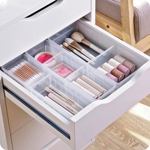 透明多格抽屜收納盒 廚房餐具收納小盒子自由分隔桌面收納整理盒