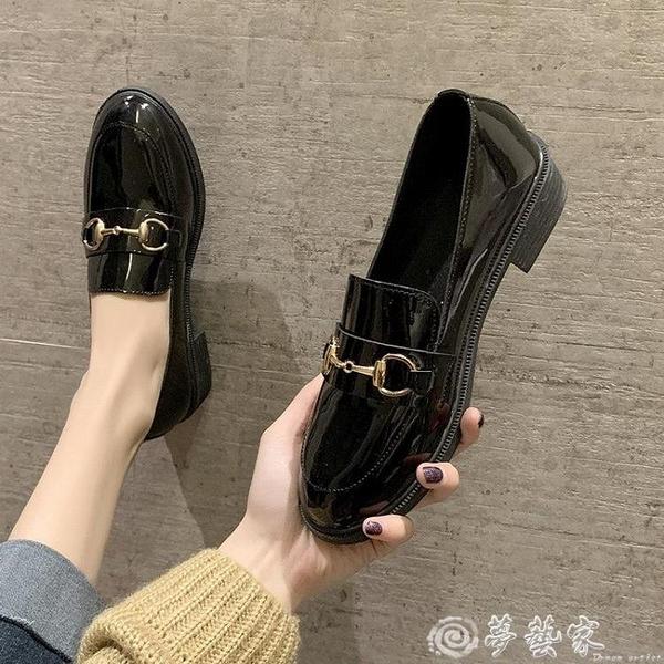 牛津鞋 英倫風小皮鞋女2021新款春季學生百搭黑色一腳蹬ins粗跟中跟單鞋 夢藝