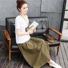 短袖洋裝棉麻連身裙2021夏裝新款時髦顯瘦棉麻連身裙女裝春夏亞麻套裝裙兩件套長裙子【耀】