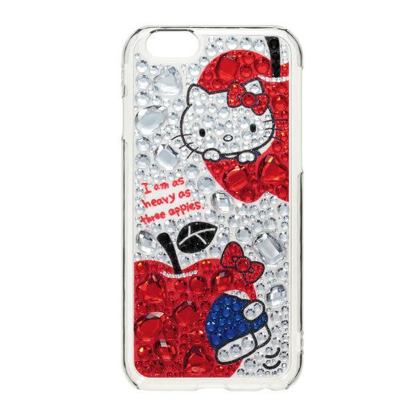 日本 Suncrest Hello Kitty iPhone 6/6s 滿鑽保護殼(蘋果咬一口)