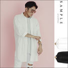 高等級訂製款 長版襯衫 寬版素面低肩線超長版 前短後長【ST15906】- SAMPLE
