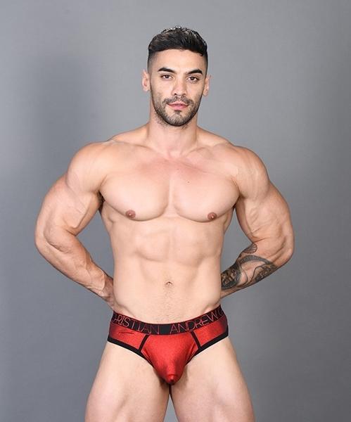 【91298】美國Andrew Christian 性感熱金紅勁裸丁字褲 Hotness Metallic Frame Thong