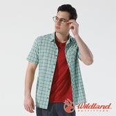 【wildland 荒野】男 彈性抗UV格子短袖襯衫『湖水綠』0A81206 戶外 休閒 運動 防曬 露營 登山 騎車