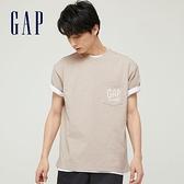 Gap男裝 純棉質感厚磅圓領短袖T恤 705488-灰白色