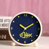 日韓藝術可愛金屬鬧鐘創意靜音夜燈時尚數字學生床頭鬧鐘臥室裝飾