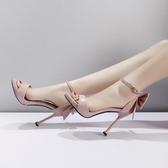 超高跟鞋細跟10cm性感蝴蝶結貓跟露趾涼鞋新品一字扣女鞋 萬客城