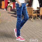 兩件裝夏季薄款彈力男士牛仔褲男休閒修身小腳褲韓版潮流黑色直筒長褲子   麥琪精品屋
