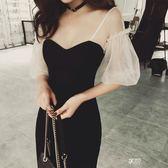 禮服 名媛復古黑色性感生日派對聚會年會小禮服包臀洋裝 享購