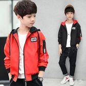中大尺碼 男童外套黑色中小童上衣大印花拉鏈衫紅色連帽外套 ys6740『毛菇小象』