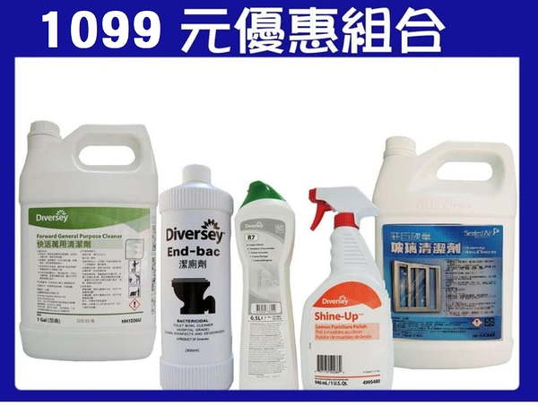 【促銷1099組合-1】R7萬用去漬劑+快活萬用清潔劑+潔廁劑+穩潔玻璃清潔劑+必麗澤