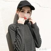 春秋高領條紋打底衫女簡約百搭長袖T恤女韓版內搭上衣 交換禮物