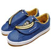 Puma 休閒鞋 Minions BasketWrap ST Denim P 藍 黃 小小兵 魔鬼氈 香蕉 中童 童鞋【PUMP306】 36408701