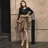 秋冬新款復古心機假兩件裙子寬鬆V領拼接波點長袖洋裝女裝