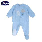 chicco-寶貝熊系列-夾棉連腳套裝-藍