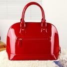 手提包-高檔精美亮麗有型漆皮女貝殼包4色72an5【巴黎精品】