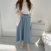 長裙 韓系夏季純色高腰顯瘦鬆緊腰口袋中長款牛仔裙 共4色 依米迦