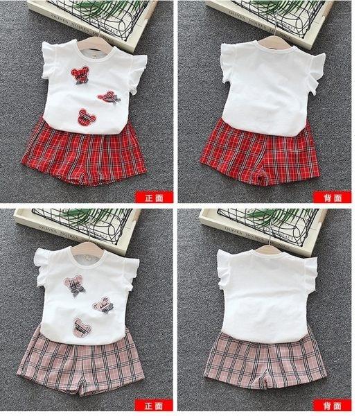 超低折扣NG商品~短袖套裝 荷葉袖 蝴蝶結上衣 + 格子短褲 女寶寶 嬰兒童裝 CK4649 好娃娃