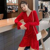 洋裝韓系8029#年秋韓版氣質修身顯瘦交叉V領亮片網紗彈力荷葉邊連身裙小禮服GT527-A快時尚