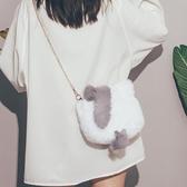 可愛毛毛包包女秋冬2020新款潮ins斜挎毛絨錬條包時尚百搭單肩包 美眉新品