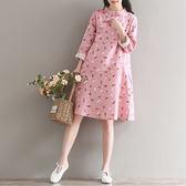 文藝小清新印花雙層棉麻中式改良旗袍連身裙GD-6-635-B日韓屋